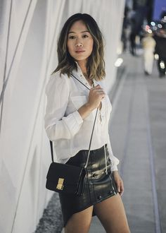 aimee_song_of_style_haute_hippie_lace_up_blouse_alexander_Wang_leather_skirt_celine_mini_box_bag