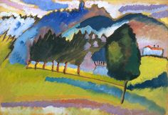 """expressionism-art: """" Landscape with Rolling Hills by Vasily Kandinsky by Guggenheim Museum Size: 33x44.7 cm Medium: Oil on boardSolomon R. Guggenheim Museum, New York Solomon R. Guggenheim Founding Collection, By gift © 2016 Artists Rights Society..."""