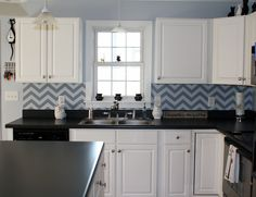 Not necessarily chevron but I hadn't thought of a wall stencil as a backsplash