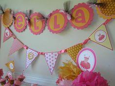 Pink and Orange Tutu Birthday Name Banner by HandmadePartyCo