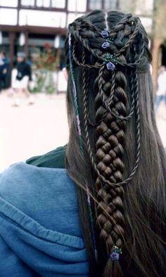 Celtic braid Viking Hair, Elvish, Medieval Hairstyles, Princess Hairstyles, Vikings, Dreadlocks, Makeup, Hair Styles, Polyvore