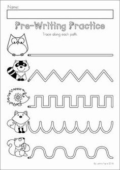 Autumn / Fall Preschool No Prep Worksheets & Activities. Pre-writing tracing practice.
