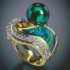 Tahitian Black Pearl Ring by Randy Polk Designs with a striking 10 mm Tahitian black pearl , Australian opal I lay , app 21 diamonds Opal Jewelry, I Love Jewelry, Fine Jewelry, Jewelry Design, Unique Jewelry, Jewelry Rings, Gold Jewellery, Gothic Jewelry, Jewelry Ideas