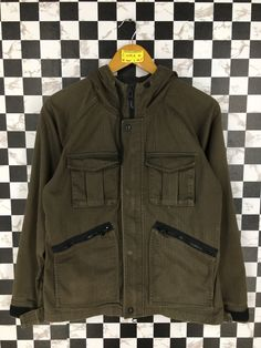 eb3fa03188d8 Men Casual Jeans Hoodie Jacket Medium Vintage 90's Tactical Utility Cargo  Pocket Olive Green Jacket Stylish Size M