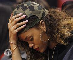 Rihanna light pink rounded acrylic nails