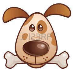 Vector ilustraci n de dibujos animados de un perro cachorro bonito con un hueso en la boca  Foto de archivo