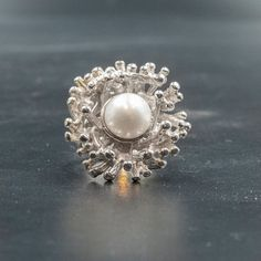 White Cultured Pearl Sterling Silver Big Ring, Impressive Design, Pearl Bridal Jewelry, Pearl Anniversary Gift for Her