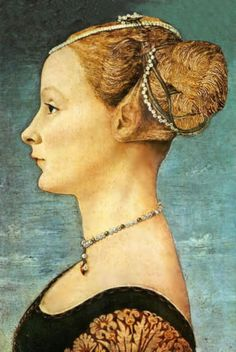Portrait of a Girl by Piero del Pollaiolo, at the Museo Poldi Pezzoli, Milan. Piero del Pollaiolo (c. 1443 – also known as Piero Benci, was an Italian Renaissance painter from Florence. Die Renaissance, Portrait Renaissance, Renaissance Kunst, Renaissance Jewelry, Renaissance Paintings, Renaissance Fashion, Renaissance Hairstyles, Art Pierre, Famous Portraits