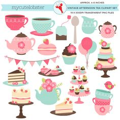 Afternoon Tea Clipart Set - clip art set, vintage tea party, cakes, teapot, macarons - personal use, small commercial use, instant download by mycutelobsterdesigns on Etsy https://www.etsy.com/uk/listing/239120123/afternoon-tea-clipart-set-clip-art-set