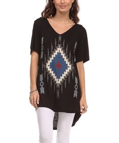 Love this Black Tribal V-Neck Tunic by A La Tzarina on #zulily! #zulilyfinds  29.99