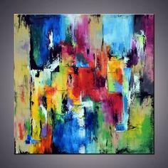 Extralarge Handmade arte tela dipinto dipinto Yello