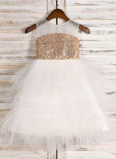 A-Line/Princess Scoop Neck Knee-length Tulle Sequined Sleeveless Flower Girl Dress Flower Girl Dress