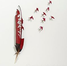 Chris Maynards cuts out birds in feathers, a difficult task that lets him create delicate and poetic works of art. He place the artworks in shadowboxes that are each unique.Feather Art by Chris Maynard Turaco Dance . Feather Painting, Feather Art, Bird Feathers, Painted Feathers, Feather Wreath, Art Sculpture, Wall Sculptures, Feather Crafts, Red Art