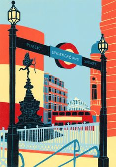 ARTFINDER: Piccadilly Circus by Jennie Ing - A limited edition linocut print, made by hand in my studio. The edition is of 40 prints. Printed onto Fabriano Tiepolo paper, and signed, numbered a. London Poster, London Art, London Illustration, Piccadilly Circus, London Transport, London Underground, Urban Landscape, Landscape Art, Illustrations