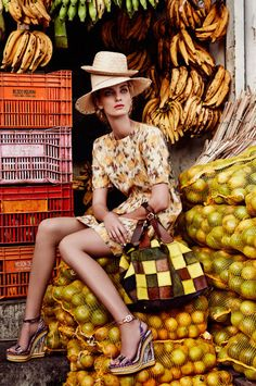 Dress by Zambesi; shoes by Christian Louboutin, hats from local markets; pony skin bag by Jamin Puech at Christine.