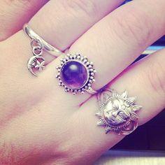 me fashion kawaii hipster boho indie moon Grunge dark sun silver hippy goth jewellery rings amethyst la luna