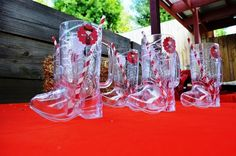 Cowboy Boot Cups and straws at a Cowgirl Birthday Party #cowgirl #partycups