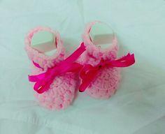 Crochet#shoe#pink#ribbon