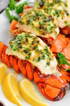 This lobster tails recipe is easy, delicious, and just what you need to make for a special dinner! Read through the you step-by-step instructions how to prepare the best broiled lobster tails starting with how to butterfly a lobster tail and how to cook them. In this recipe, I use a buttery topping that's just perfect for the delicate lobster meat. Lobster Recipes, Fish Recipes, Seafood Recipes, Dinner Recipes, Cooking Recipes, Holiday Recipes, Dinner Ideas, Keto Recipes, Broil Lobster Tail