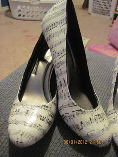 Size 7 1/2 Sheet Music Shoes. $50.00, via Etsy. I would wear these... :)