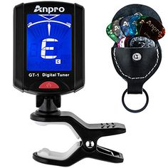 Anpro GT1 Digital Tuner for Guitar Bass Ukulele Chromatic Violin with 12 Packs Guitar Picks include 046mm 071mm 096mm and a Leather Key Chain Pick Holder * Click on the image for additional details.Note:It is affiliate link to Amazon.