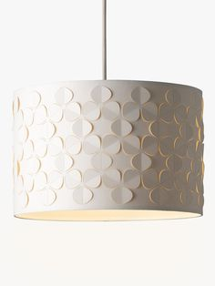 Buy John Lewis & Partners Clara Cutwork Drum Shade, White from our Ceiling & Lamp Shades range at John Lewis & Partners. John Lewis Lighting, Living Room Lamp Shades, Drum Shade, Contemporary Lamp Shades, Light Shades, Cylinder Shape, Modern Lamp Bases, Modern Lamp Shades, Drum Light