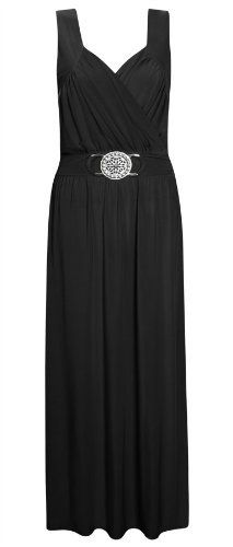 Womens Ladies Long Buckle Sleeveless Party Evening Maxi Wrapover Dress Plus Size