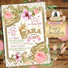 Fairy Invitation - Fairy Birthday Invitation - Vintage Fairy Invitation - Fairy Birthday Party - Free Thank you Card - Custom Invite by LythiumArt on Etsy https://www.etsy.com/listing/487415813/fairy-invitation-fairy-birthday