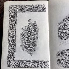 """KenHunt on Instagram: """"#drawing #engraver #decoration #design #pattern #pendrawing #pencildrawing #scroll#handengraved #sketch #sketchbook #stucco#calligraphy…"""" Metal Engraving, Neo Traditional, Acanthus, Cnc Router, Flourish, Pencil Drawings, Art Reference, Diy Home Decor, Vintage World Maps"""