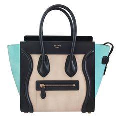 Celine Tricolor Micro Luggage Tote Pebbled Leather & Suede Handbag