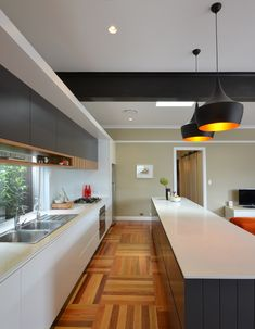 Architecture and design studio based in Sydney working on a wide range of projects including residential, commercial, public buildings and competitions. Kitchen Dining, Kitchen Cabinets, Dining Room, Steel Beams, Exposed Beams, New House Plans, Floor Finishes, New Homes, Flooring