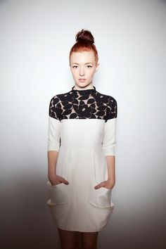 Cream Italian gabardine cocktail dress with Floral by yellowcake, $355.00