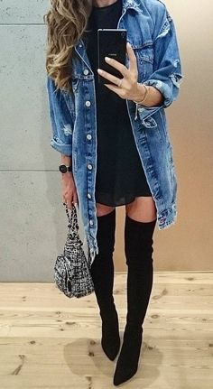 #fall #fashion · Denim Coat / Black Dress / Knee Length Boots