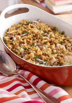 Make-Ahead Chicken & Green Bean Casserole — This recipe combines just about everything we like in one dish: tender chicken, fresh green beans, creamy mushrooms—and make-ahead convenience!