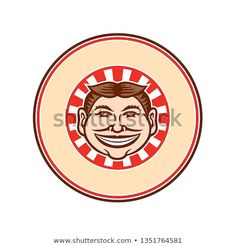 Mascot icon illustration of head of a grinning, leering, smiling funny face slyly beaming mug with hair parted in middle viewed from front with sunburst set inside circle on isolated in retro style. Graphic Illustration, Retro Illustrations, Funny Faces, Design Bundles, School Design, New Pictures, Design Elements, Retro Fashion, Royalty Free Stock Photos