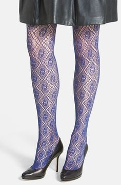 OROBLU 'Mila' Diamond Fishnet Tights available at #Nordstrom Floral Tights, Patterned Tights, Cute Tights, Fishnet Tights, Pantyhose Fashion, Fashion Tights, Winter Tights, Striped Stockings, Pantyhose Lovers