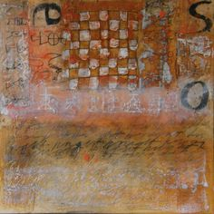 """Laura Wait  Encaustic Mixed Media  14"""" x14"""". From the chess series"""