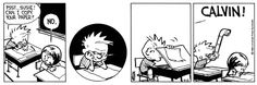 Calvin and Hobbes, May 13, 1988 - PSST...Susie!  Can I copy your paper?