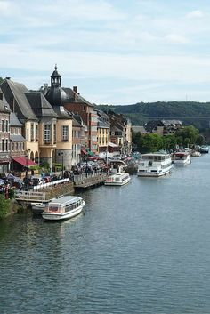 Boats in the Meuse River, Dinant, Belgium.