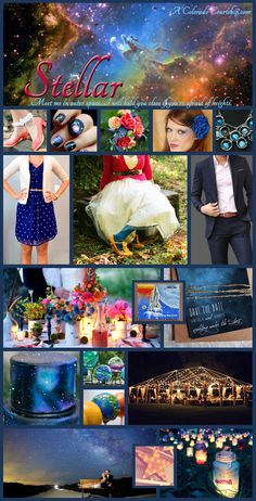 wedding, inspiration, mood board, navy blue, midnight blue, royal blue, pink, coral, green, yellow, mutlicolor, colorful, space, celestial, nebula, casual, night, candles, glow, planets, A Colorado Courtship
