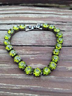 Green Swarovski Crystal Line Bracelet by Ronnie7 on Etsy