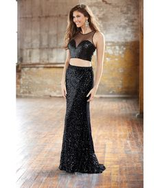 Madison James Black Sequin Two Piece Sheer Sweetheart Crop Top & Long Skirt Prom 2015