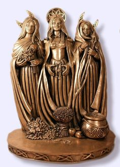 Maid Mother Crone Triple Goddess Statue Pagan Wiccan Altar Icon Bronz Lk #BZTGS