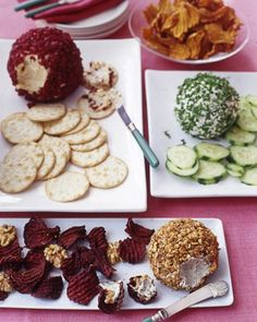 Cheese Balls Three Ways  Cheese Balls Three Ways  Kick off Christmas dinner with crowd-pleasing appetizers from 20 years of Martha Stewart Living. One creamy and delicious cheese base is flavored three different ways -- with goat cheese and scallion, cheddar and cranberry, and Roquefort with walnut -- for a versatile hors d'oeuvre that's sure to please even the pickiest of palates. Martha Stewart Living, 2005