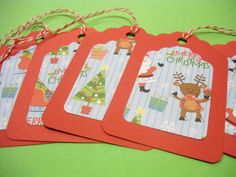 MERRY CHRISTMAS Gift Tags & String Wrap Party Decoration Scrapbooking Embellishments Set of 6 on Etsy, $1.50