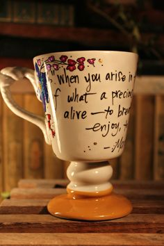 "Marcus Aurelius ""When you arise in the morning"" Hand painted quote mug - Medium large white and mustard mug with nautical rope handle"