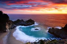 Secret Cove by oilfighter, via Flickr  McWay Falls, Big Sur, Julia Pfeiffer Burns State Park  This is the photo on a co-workers calendar...I could just stare at it for hours...beautiful