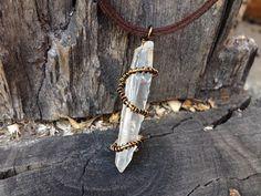Handmade wire wrapped crystal quartz necklace pendant from CrystalAndVein on Etsy! https://www.etsy.com/listing/203555151/quartz-crystal-wire-wrapped-necklace?ref=shop_home_active_1 #crystal #quartz #necklace #pendant #wirewrapped #wire #leather #adjustable #long #hipster #urban #crystalandvein #hemp