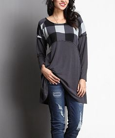 Look what I found on #zulily! Charcoal Buffalo Check Empire-Waist Tunic #zulilyfinds
