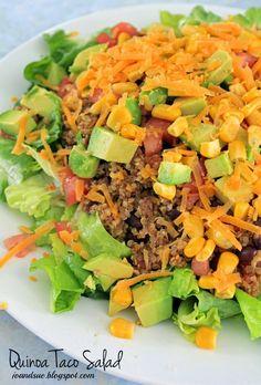 Quinoa Taco Salad According to Myfitness pal per serving is: 400 calories, 50 carbs, 13 fat, and 21 protein. Mexican Food Recipes, Vegetarian Recipes, Cooking Recipes, Healthy Recipes, Healthy Dishes, Healthy Snacks, Healthy Eating, Quinoa Tacos, Quinoa Meals